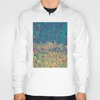 philadelphia Hoodies featuring philadelphia city skyline map by Bekim ART