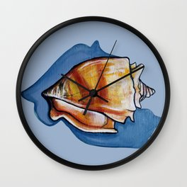 Shell One in Blue Wall Clock