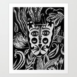 Psychedelic Cat Art Print