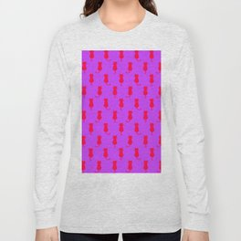 Polka Dot Pattern Pop Art Cat In Red and Lilac Long Sleeve T-shirt
