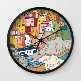 Cinque Terre Italy Colourful Houses by Day Wall Clock