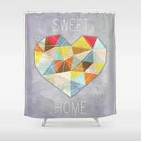 home sweet home Shower Curtains featuring Home Sweet Home by cafelab