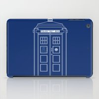 blueprint iPad Cases featuring TARDIS Blueprint - Doctor Who by BeckiBoos