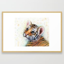 Nursery-Artwork-Tiger-Cub-Baby-Animal-Watercolor-Jungle-Safari-Animals Framed Art Print