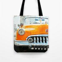 cuba Tote Bags featuring Cuba Yellow by frenchtoy