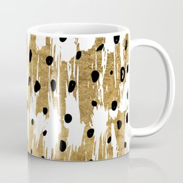 Gold Brushstrokes Modern Artsy Polka Dots Coffee Mug