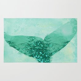 A Mermaid's Tail III, painterly coastal art, aqua metal Rug