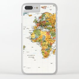 Mapa do Mundo Clear iPhone Case