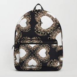 Clover Hearts Black, White, and Rose-Gold Mandala Textile Backpack