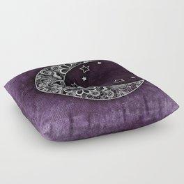 Purple Abstract Moon Floor Pillow
