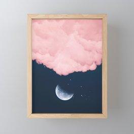 Falling moon Framed Mini Art Print