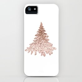 Sparkling christmas tree rose gold ombre iPhone Case