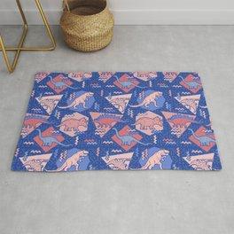 Nineties Dinosaurs Pattern  - Rose Quartz and Serenity version Rug