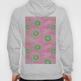 Watercolor Kiwi Slices in Neon Pink Punch Hoody
