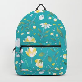 Colourscape Summer Floral Pattern Turquoise Lemon Backpack