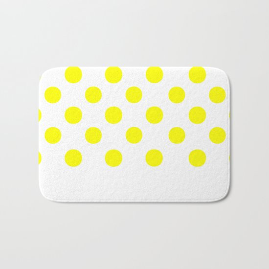 Polka Dots (Yellow/White) Bath Mat
