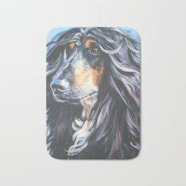 Afghan Hound Beautiful Fine Art Dog Painting by L.A.Shepard Bath Mat