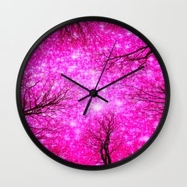 Black Trees Hot Pink Space Wall Clock