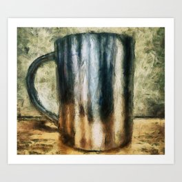 Metal cup on the table Art Print