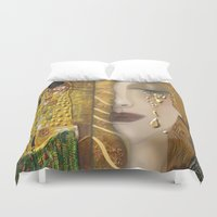 gustav klimt Duvet Covers featuring My Klimt Serie:Gold by Müge Başak