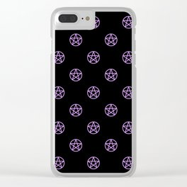 Purple Pentacle Pattern on Black Clear iPhone Case