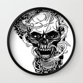 Skull wreath, custom gift design Wall Clock