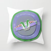 buzz lightyear Throw Pillows featuring pixar disney toy story. buzz lightyear flight school  by studiomarshallarts