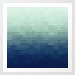 Gradient Pixel Aqua Art Print