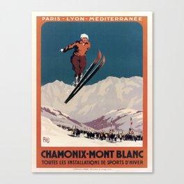 retro vintage chamonix mont blanc toutes les installations de sports dhiver plm poster Canvas Print