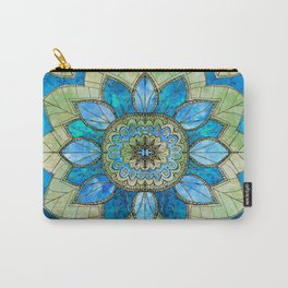 Tangled Watercolor Flower Blue and Green Carry-All Pouch