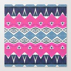 Geo Triangle Pink Navy 2 Canvas Print