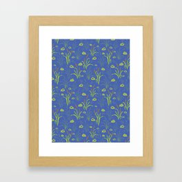 Bright Blue Pond Water With Bullrushes Framed Art Print