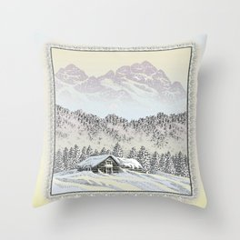 SNOWED IN PEN DRAWING COLOR VERSION Throw Pillow