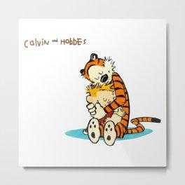 hug calvin and hobbes Metal Print