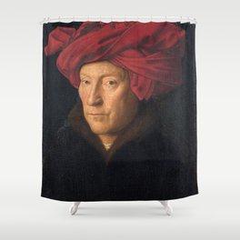 Jan van Eyck – A Portrait of a Man with a Turban Shower Curtain
