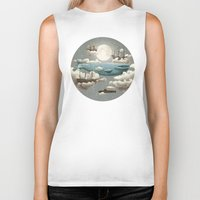 a clockwork orange Biker Tanks featuring Ocean Meets Sky by Terry Fan