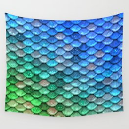 Aqua Teal & Green Shiny Mermaid Glitter Scales Wall Tapestry