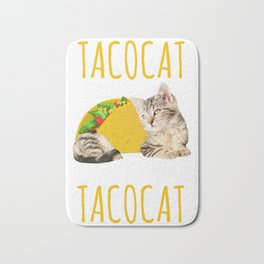 Taco Cat Gift Foodie Kitty Cat Funny Mexican Food Present Bath Mat