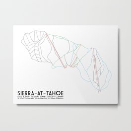 Sierra-At-Tahoe, CA - Minimalist Trail Art Metal Print