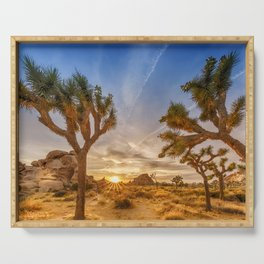 Gorgeous Sunset at Joshua Tree National Park Serving Tray