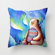 Spirit Bear Tribal Print Throw Pillow