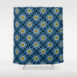 V6 Blue Traditional Moroccan Natural Leather - A4 Shower Curtain