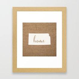Kansas is Home - White on Burlap Framed Art Print
