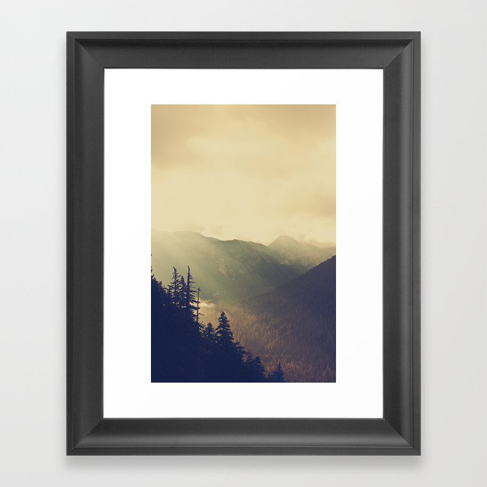 Sunrise over the Mountians Framed Art Print