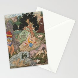 Layla and Majnun in the Wilderness with Animals - 16th Century Classical Hindu Art Stationery Cards