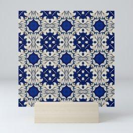 Intense Indigo Cream Seamless Pattern VIII Mini Art Print