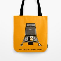 pixies Tote Bags featuring 7 inch series: Pixies - Space (I believe in) / Motorway to Roswell by Gimetzco's Damaged Goods