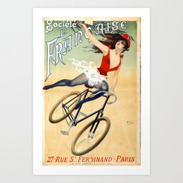 Poster vintage french bicycle girl Art Print