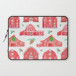 Watercolor Snowy Red Holiday Barns Laptop Sleeve