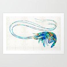 Blue Shrimp Art by Sharon Cummings Art Print